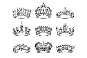 Set of isolated sketch for crown or tiara