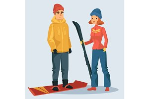 Woman with ski and man on snowboard