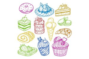 Sweeties sketches, pastry and bakery cake