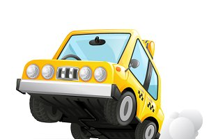 Yellow Cab Taxi Car Icon