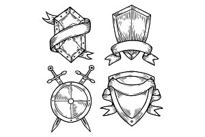 Set of isolated medieval shields with ribbons