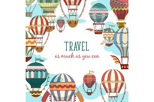 Retro cartoon flying air balloon banner or sign