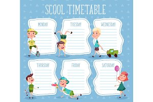 Education diary or school timetable for pupils
