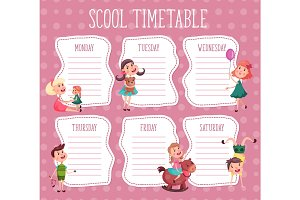 School timetable. Education diary for pupil