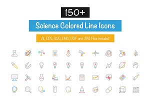 150+ Science Colored Line Icons