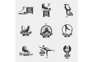 Ice skating logo set.