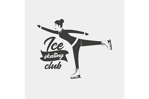 Logo with a woman moving on ice skates.