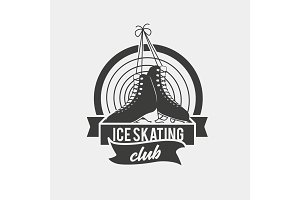 Logo with a pair of tied ice skates.