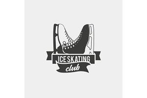 Logo with a pair of ice skates.
