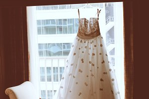 Wedding dress in room