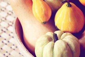 Various of pumpkins on bowl