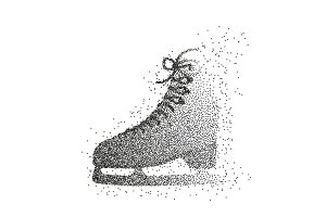 Single ice skate shoe made of particles.