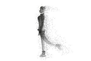 Female ice skater silhouette made of particles.