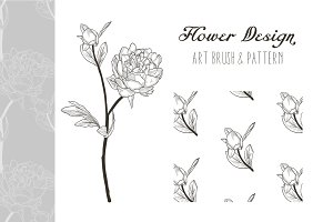 Flower Design. Pattern & Art Brush