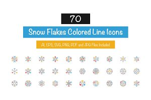 70 Snow Flakes Colored Line Icons