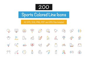 200 Sports Colored Line Icons