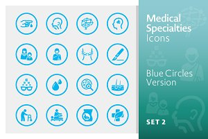 Blue Medical Specialties Icons Set 2