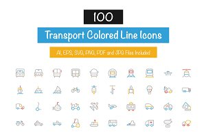 100 Transport Colored Line Icons