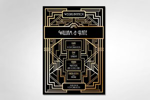 art deco/gatsby wedding invite