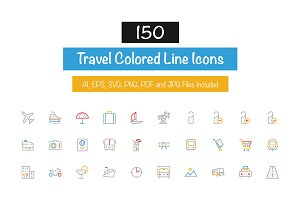 150 Travel Colored Line Icons