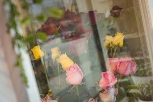 Bouquet on window