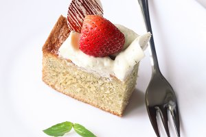 Slice of Basil Sponge Cake