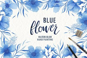 Watercolor blue flower clipart