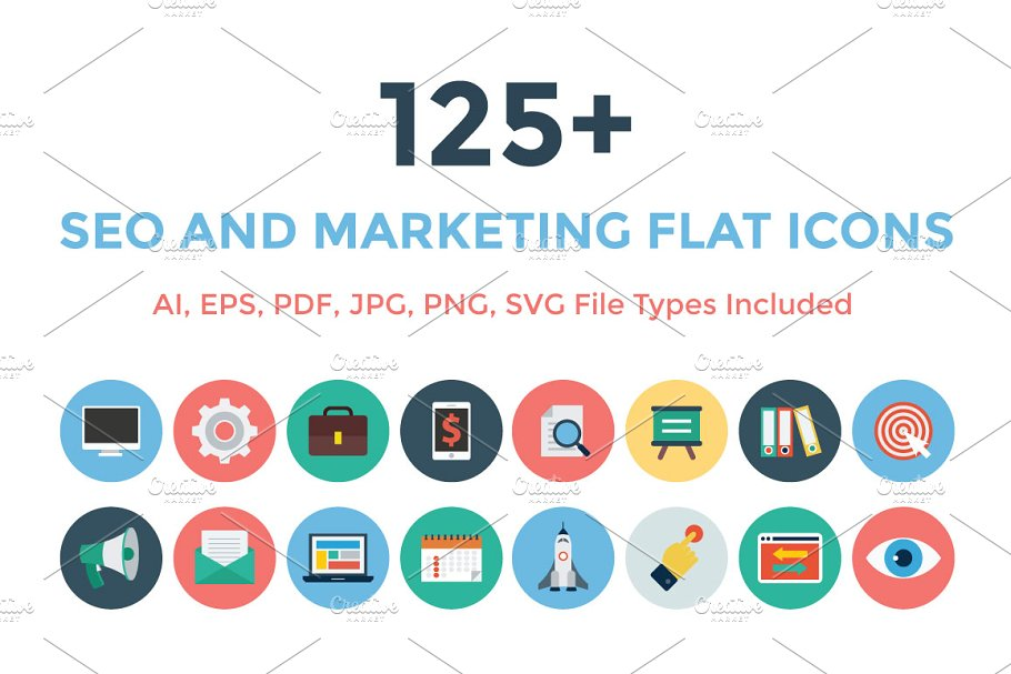 125+ Seo and Marketing Flat Icons