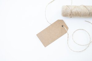 Craft Paper Gift Tag Mockup