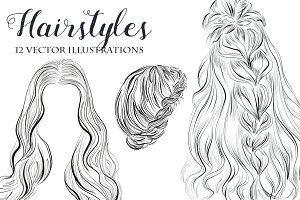 Hairstyles vector illustrations set