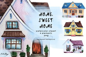Watercolor Clipart - Houses