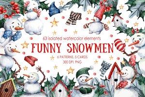 Funny Snowmen - Watercolor Clip Art
