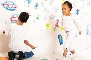 Painting Mixed Race Kids