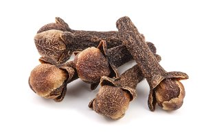 dry spice cloves isolated on white background