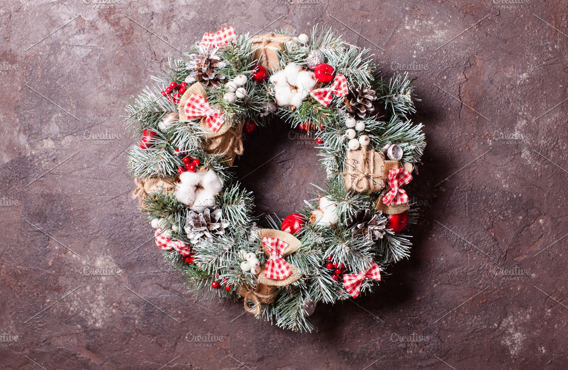 Red And White Christmas Wreath Nature Photos Creative Market