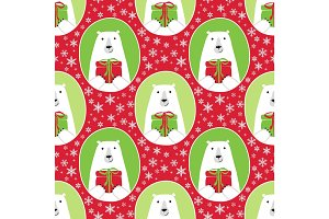 Cute Christmas and New Year seamless pattern with polar bear and present box