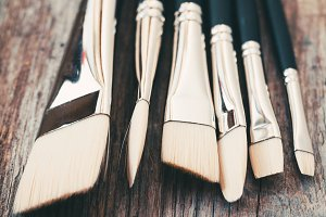 Set of artist paintbrushes closeup
