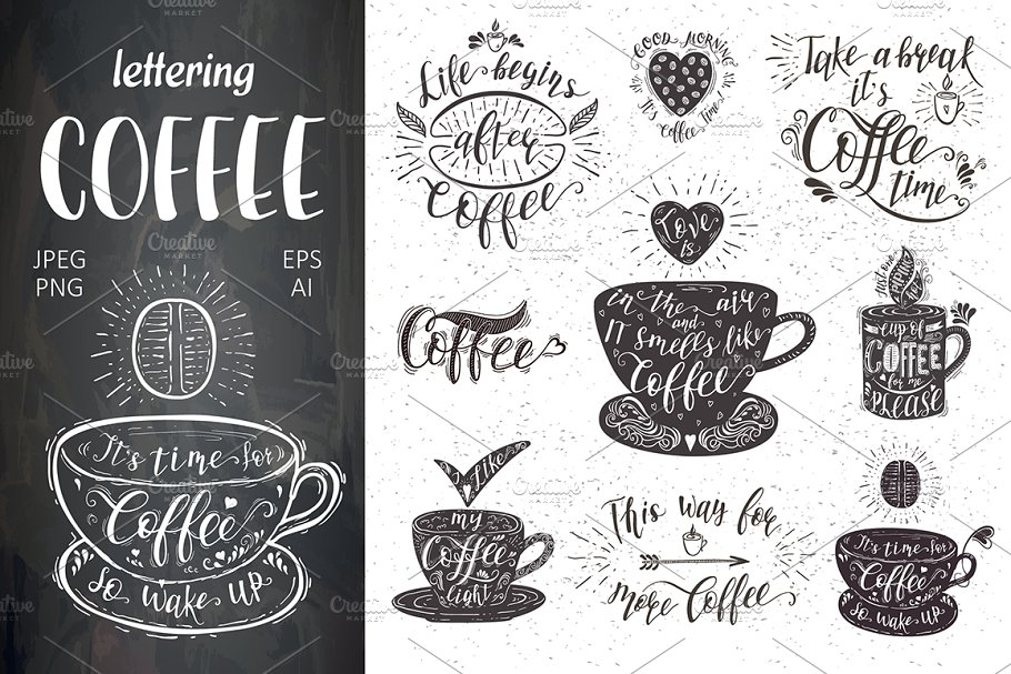 Set Of Quotes For Coffee Lettering Illustrations Creative Market