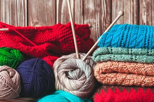 Color knitted clothes