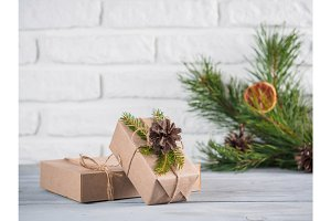 Rustic gift boxes and christmas pine three, copyspace