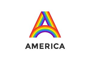Rainbow letter A and text America
