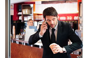 Stressed Businessman Getting His Early-morning Coffee