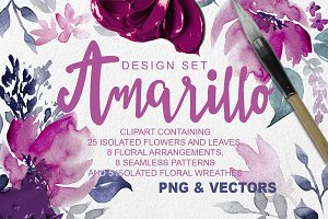 Amarillo Floral Clipart Design Set