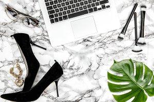 Feminine accessories notebook shoes