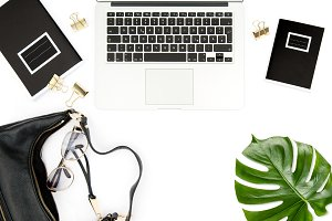 Office desk notebook green leaf