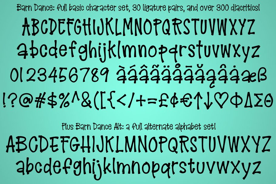 Best Barn Dance: a country-style font! Vector