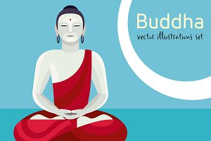 Buddha vector illustrations Set