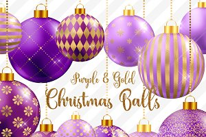 Purple and Gold Christmas Balls