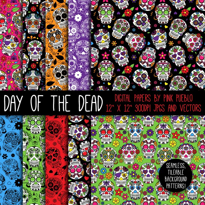 Day Of The Dead Skulls Patterns Creative Market