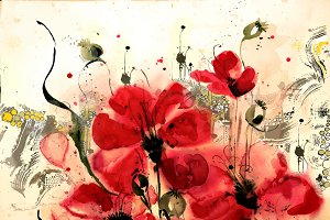 Watercolor poppies with the author's